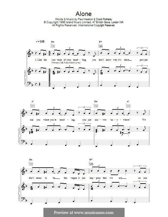 Alone (The Beautiful South): Для голоса и фортепиано (или гитары) by David Rotheray, Paul Heaton