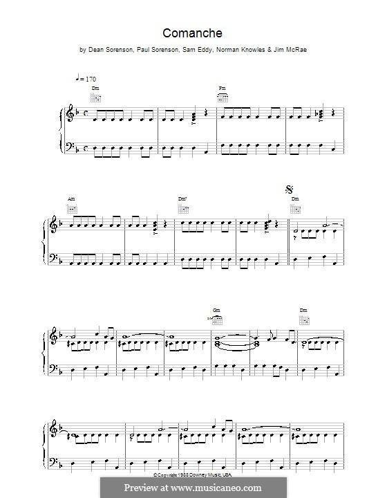 Comanche (from Pulp Fiction): Для голоса и фортепиано или гитары (The Revels) by Dean Sorensen, Paul Sorensen, Sam Eddy