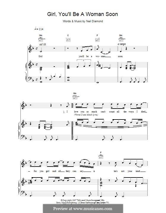 Girl, You'll Be a Woman Soon: Для голоса и фортепиано (или гитары) by Neil Diamond