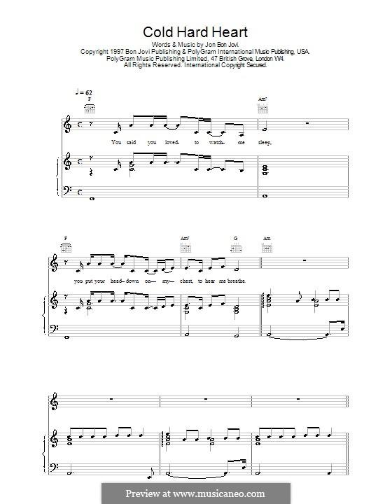 Cold Hard Heart: Для голоса и фортепиано (или гитары) by Jon Bon Jovi