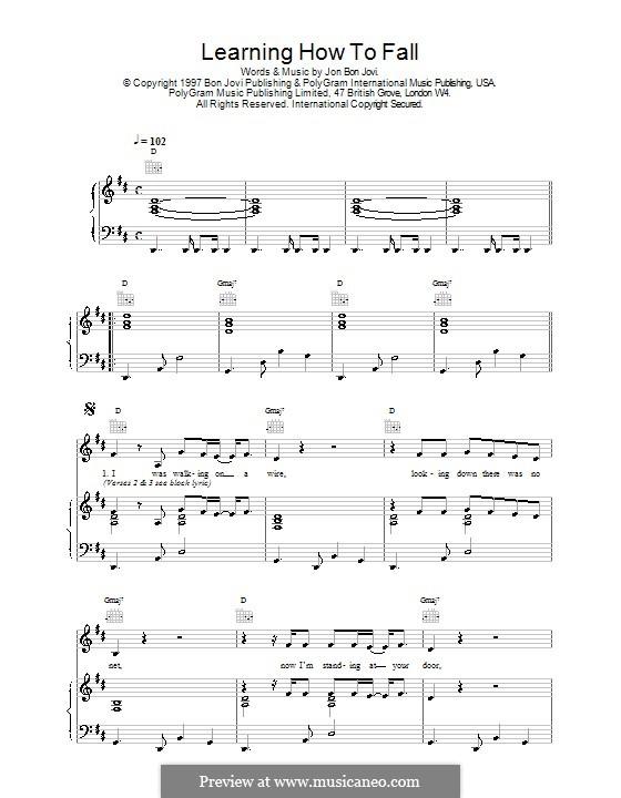 Learning How to Fall: Для голоса и фортепиано (или гитары) by Jon Bon Jovi
