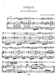 Соната для виолончели и фортепиано No.1: Партитура, сольная партия by Джованни Баттиста Бонончини