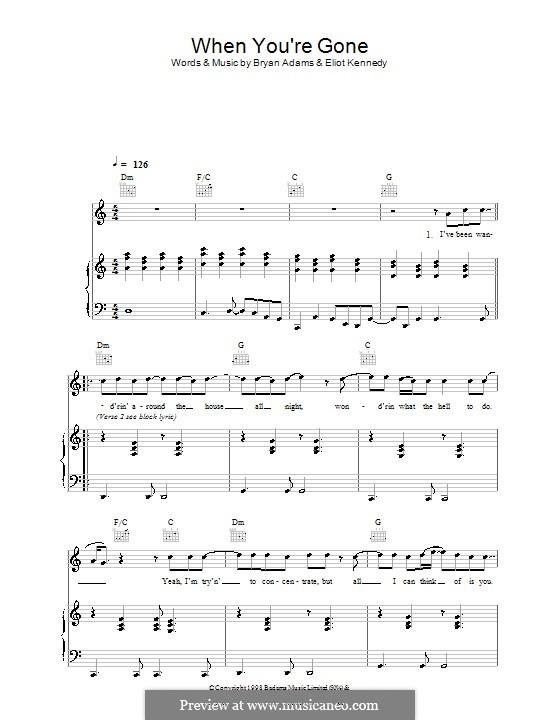When You're Gone (Bryan Adams and Melanie C): Для голоса и фортепиано (или гитары) by Bryan Adams, Eliot Kennedy