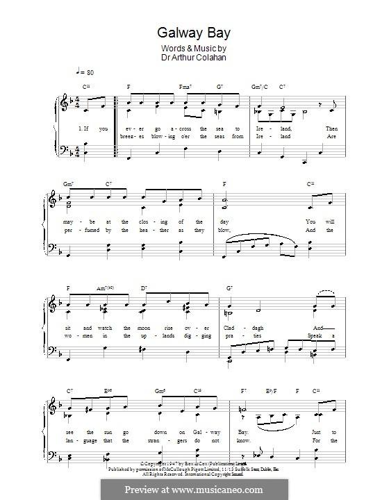 Galway Bay: Для голоса и фортепиано (или гитары) by Dr. Arthur Colahan