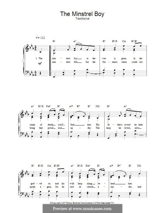 The Ministrel Boy: Для голоса и фортепиано (или гитары) by folklore