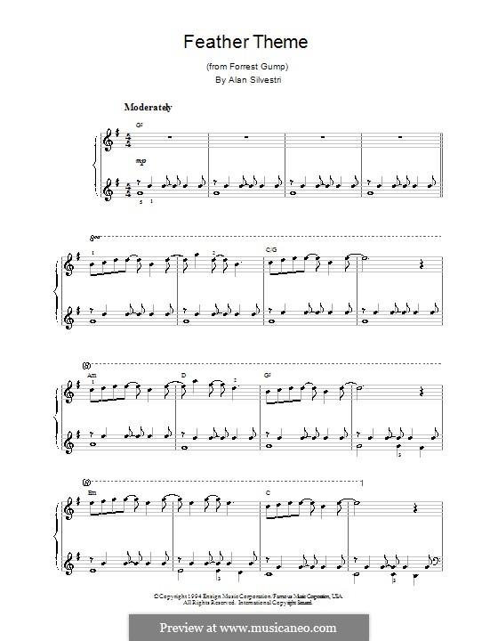 Forrest Gump Suite (Theme): Для фортепиано (легкий уровень) by Alan Silvestri