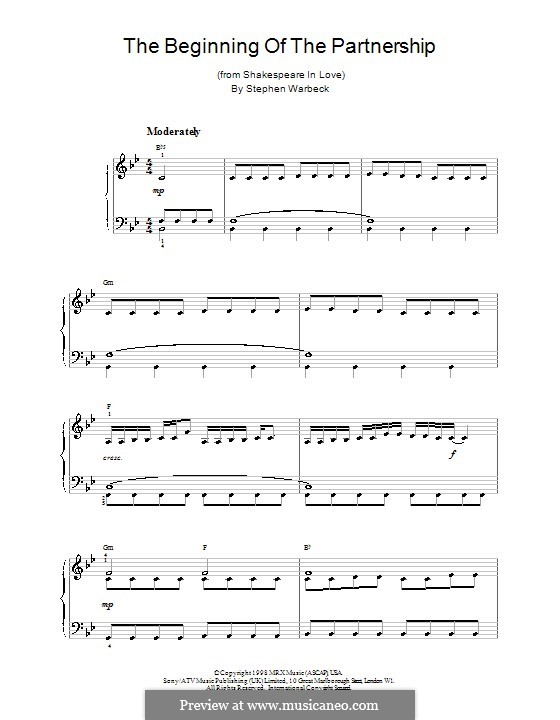 The Beginning of the Partnership (from Shakespeare in Love): Для начинающего пианиста by Stephen Warbeck