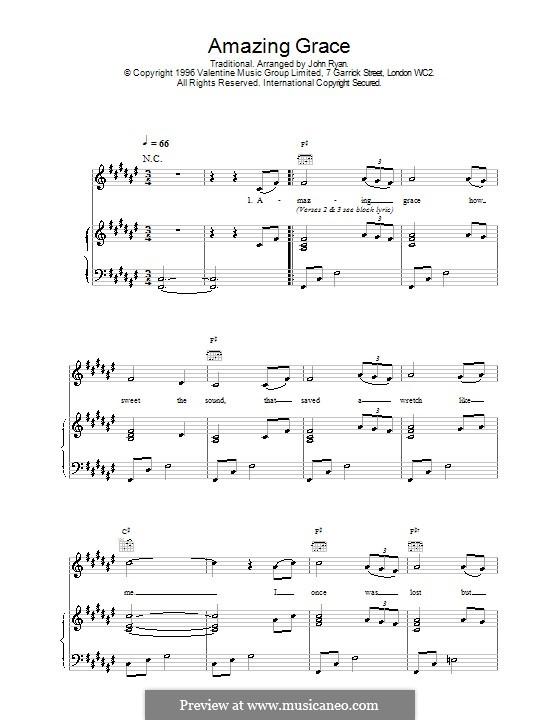 Amazing Grace (Printable Scores): Для голоса и фортепиано или гитары (F Sharp Major) by folklore