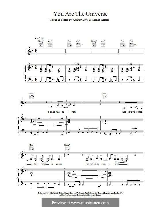 You Are the Universe (The Brand New Heavies): Для голоса и фортепиано (или гитары) by Andrew Levy, Siedah Garrett
