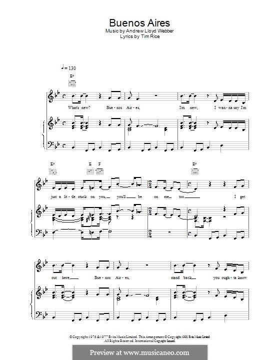 Buenos Aires: Для голоса и фортепиано (или гитары) by Andrew Lloyd Webber