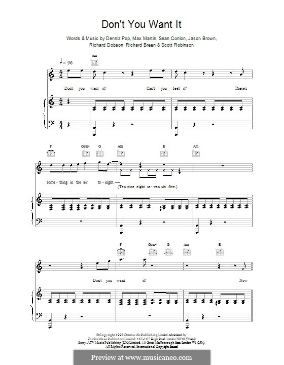 Don't You Want It (Five): Для голоса и фортепиано (или гитары) by Denniz Pop, Max Martin, Sean Conlon