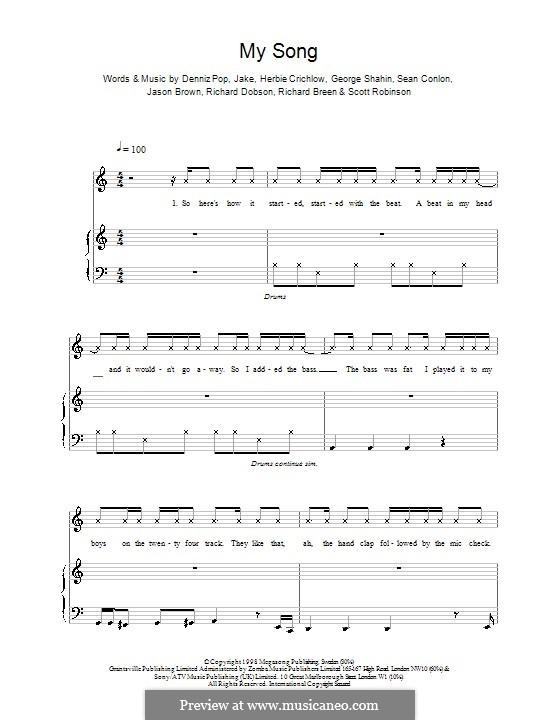 My Song (Five): Для голоса и фортепиано (или гитары) by Denniz Pop, Herbie Crichlow