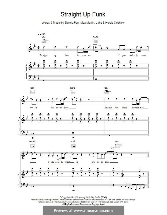 Straight Up Funk (Five): Для голоса и фортепиано (или гитары) by Denniz Pop, Max Martin