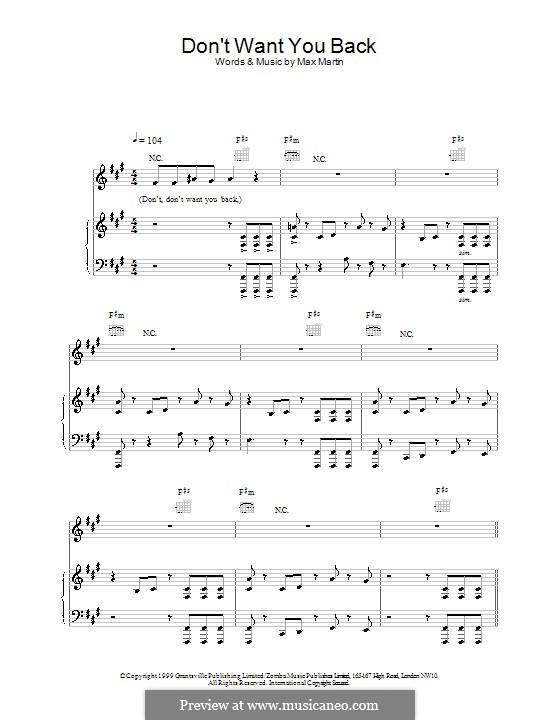 Don't Want You Back (Backstreet Boys): Для голоса и фортепиано (или гитары) by Max Martin