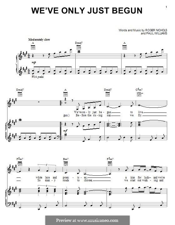 We've Only Just Begun (Carpenters): Для голоса и фортепиано или гитары by Paul H. Williams, Roger Nichols