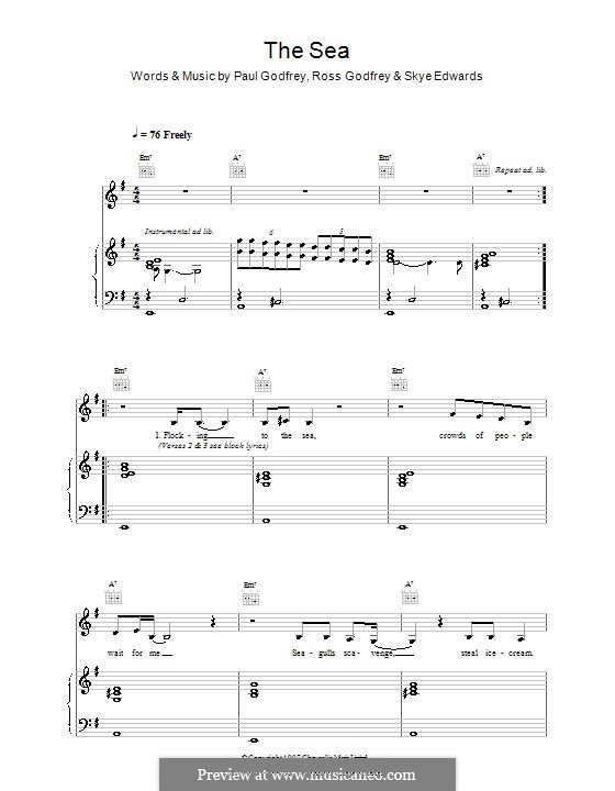 The Sea (Morcheeba): Для голоса и фортепиано (или гитары) by Paul Godfrey, Ross Godfrey, Skye Edwards