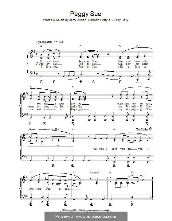 Peggy Sue: Для начинающего пианиста by Buddy Holly, Jerry Allison, Norman Petty