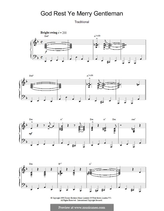 God Rest You Merry, Gentlemen, for Piano: Jazzy arrangement by folklore