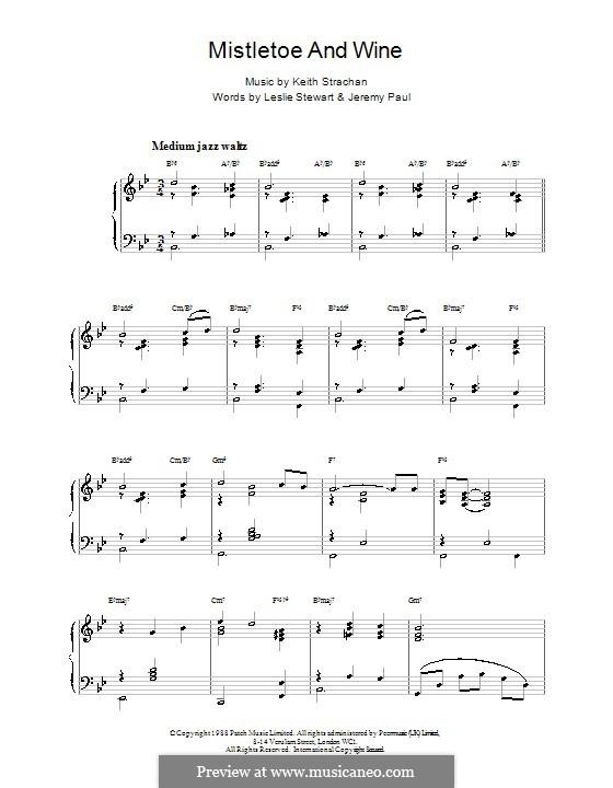 Mistletoe and Wine (Cliff Richard): Для фортепиано (jazzy arrangement) by Keith Strachan
