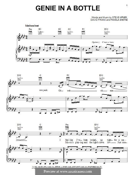 Genie in a Bottle (Christina Aguilera): Для голоса и фортепиано (или гитары) by David Frank, Pamela Sheyne, Stephen Alan Kipner