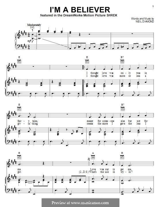 I'm a Believer: Для голоса и фортепиано или гитары (ми мажор) by Neil Diamond