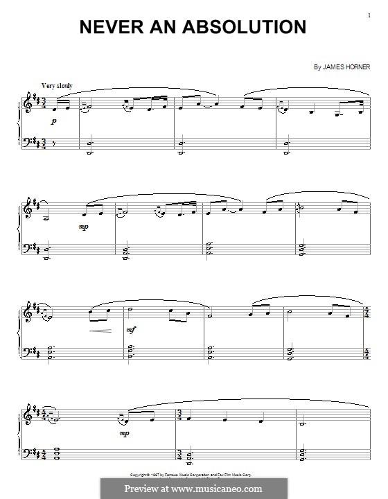 Never an Absolution (from Titanic): Для голоса и фортепиано (или гитары) by James Horner