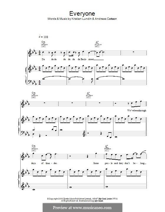 Everyone (Backstreet Boys): Для голоса и фортепиано (или гитары) by Andreas Carlsson, Kristian Lundin