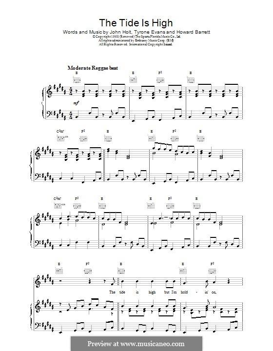 The Tide is High (Blondie): Для голоса и фортепиано (или гитары) by Howard Barrett, John Holt, Tyrone Evans