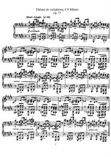 Тема с вариациями для фортепиано, Op.73: Для одного исполнителя by Габриэль Форе