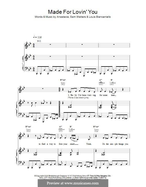 Made for Loving You (Anastacia): Для голоса и фортепиано (или гитары) by Louis Biancaniello, Samuel Watters