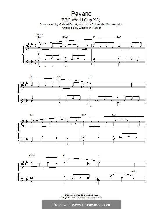 Павана, Op.50: Для фортепиано (G Minor) by Габриэль Форе
