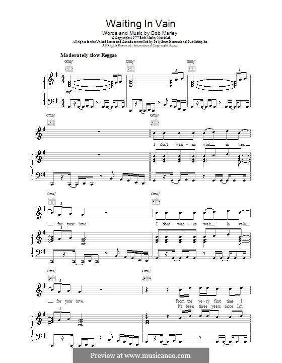 Waiting in Vain: Для голоса и фортепиано (или гитары) by Bob Marley