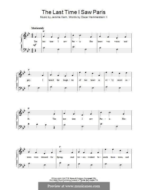 The Last Time I Saw Paris: Для фортепиано (легкий уровень) (Frank Sinatra) by Джером Керн