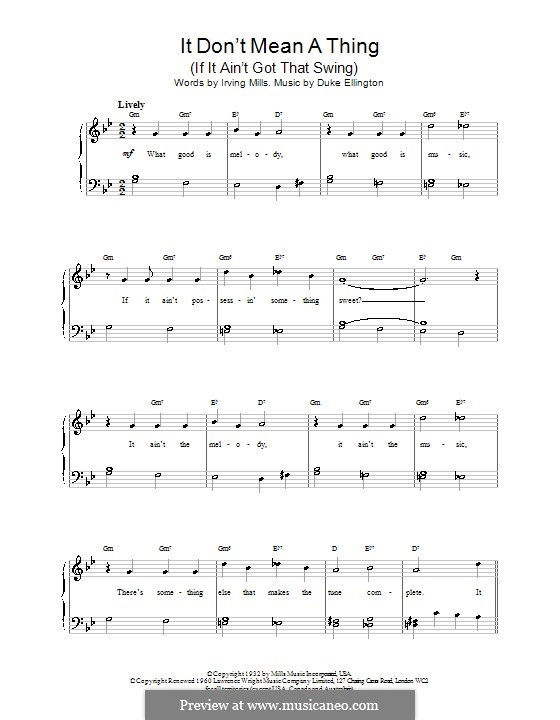 It Don't Mean a Thing (If It Ain't Got That Swing): Для фортепиано (легкий уровень) by Irving Mills, Duke Ellington