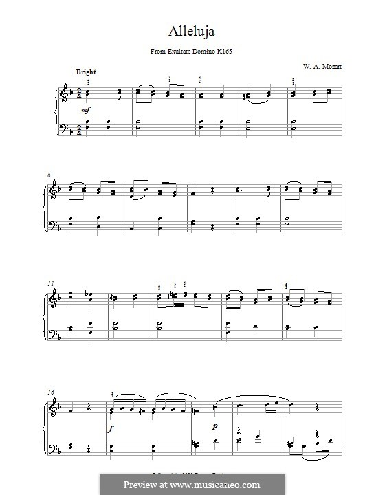 Exsultate, jubilate, K.165: Аллилуйя, для фортепиано by Вольфганг Амадей Моцарт