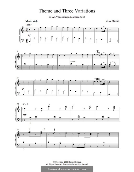 Двенадцать вариаций на тему 'Ah vous dirais-je, Maman', K.265/300e: Тема и три вариации by Вольфганг Амадей Моцарт