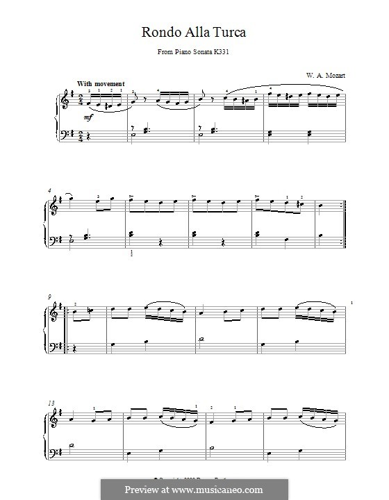 Турецкое рондо: Easy version by Вольфганг Амадей Моцарт