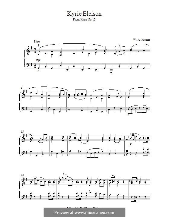 Месса соль мажор: Kyrie Eleison, for piano by Вольфганг Амадей Моцарт