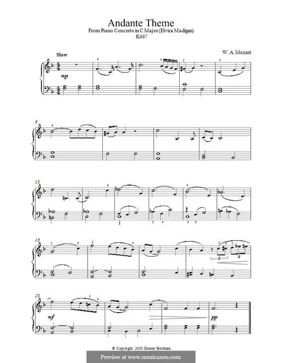 Концерт для фортепиано с оркестром No.21 до мажор, K.467: Часть II. Версия для фортепиано by Вольфганг Амадей Моцарт