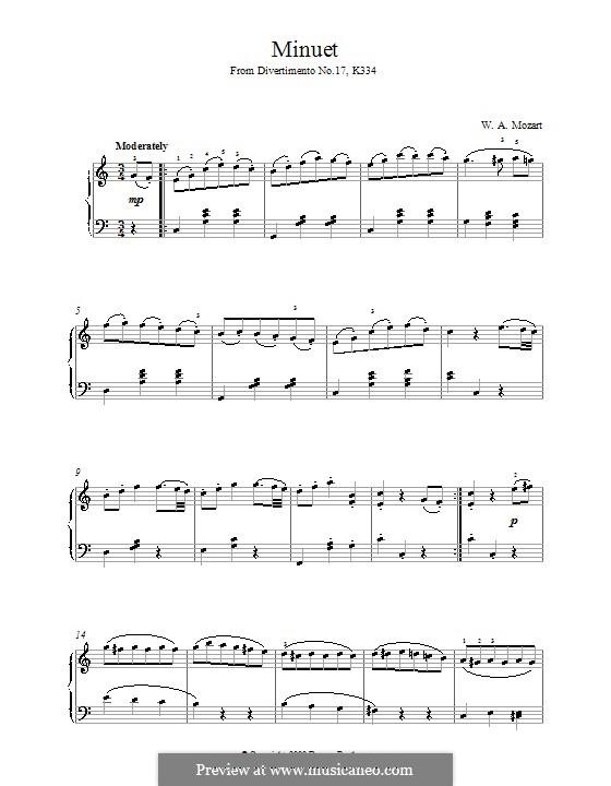 Дивертисмент No.17 ре мажор, K.334: Менуэт, для фортепиано by Вольфганг Амадей Моцарт