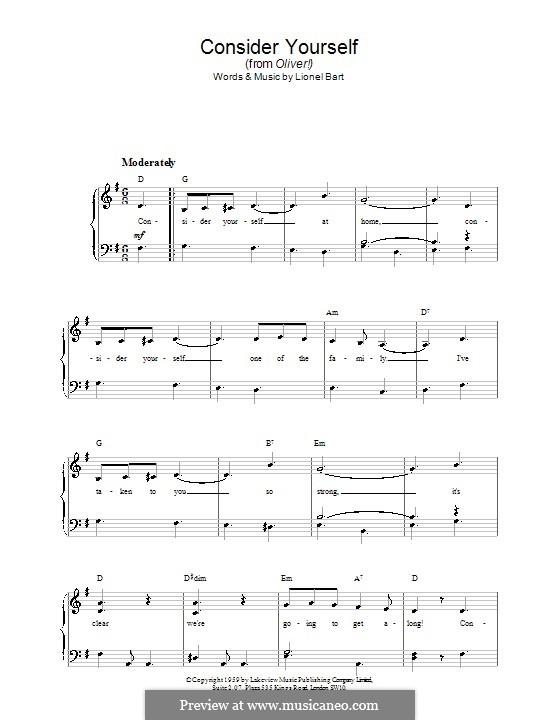 Consider Yourself (from Oliver!): Для фортепиано (легкий уровень) by Lionel Bart