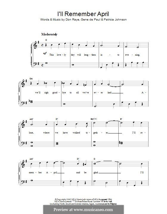 I'll Remember April (Woody Herman): Для фортепиано (легкий уровень) by Don Raye, Gene de Paul, Patricia Johnson