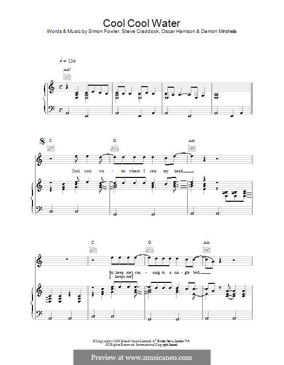 Cool Cool Water (Ocean Colour Scene): Для голоса и фортепиано (или гитары) by Oscar Harrison, Simon Fowler, Steve Cradock
