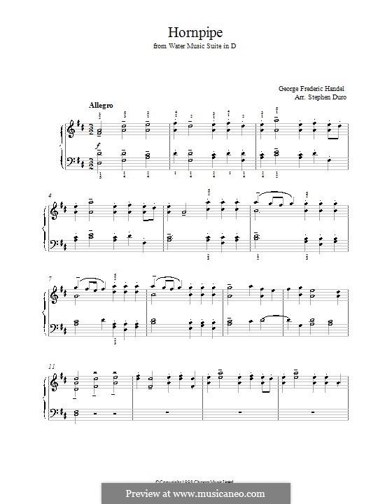 Сюита No.2 ре мажор, HWV 349: Alla Hornpipe, for piano (with fingering) by Георг Фридрих Гендель