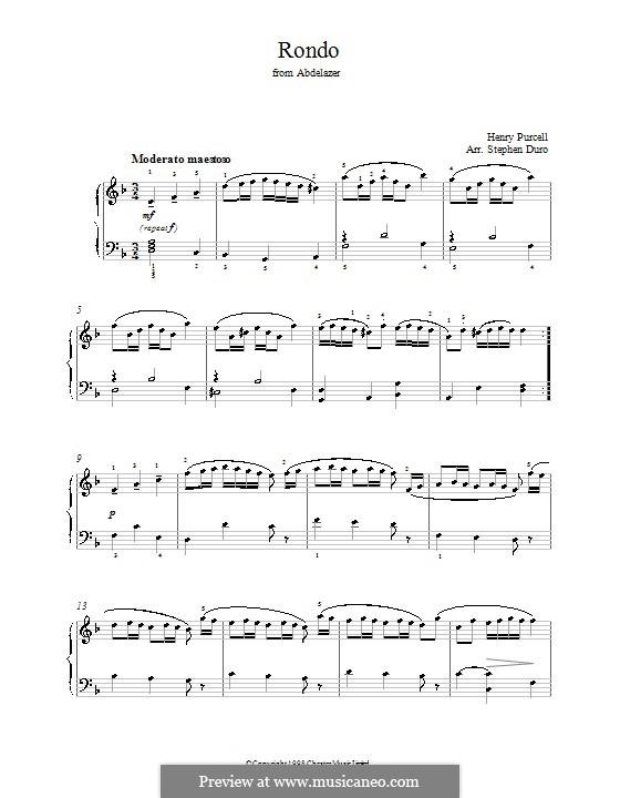 Абделазар, или Месть мавра: Рондо. Переложение для фортепиано (ноты высокого качества) by Генри Пёрсел