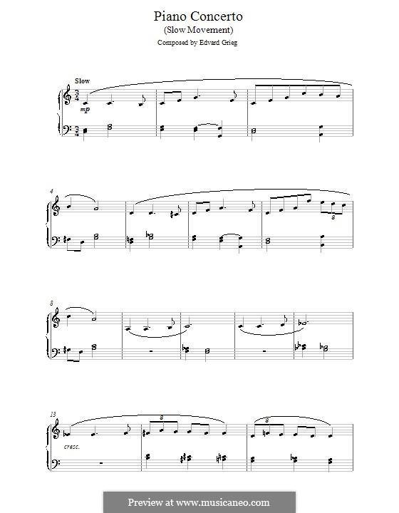 Концерт для фортепиано с оркестром ля минор, Op.16: Часть II. Версия для начинающего пианиста by Эдвард Григ