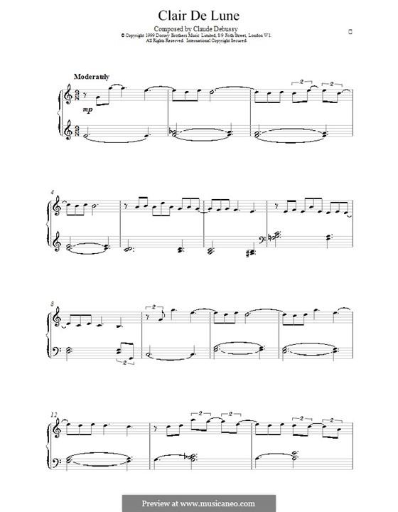 No.3 Лунный свет, для фортепиано: Легкая версия для фортепиано by Клод Дебюсси