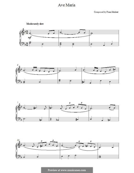 Ave Maria (Printable Scores), D.839 Op.52 No.6: Для фортепиано (легкий уровень) by Франц Шуберт