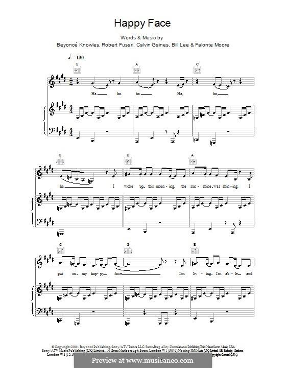 Happy Face (Destiny's Child): Для голоса и фортепиано (или гитары) by Beyoncé, Calvin Gaines, Robert Fusari