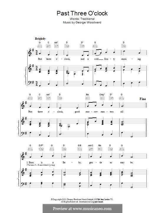Past Three O'Clock: Для голоса и фортепиано (или гитары) by George Ratcliffe Woodward